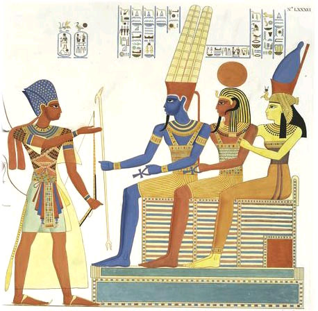 Egyptian Gods: Amun [or Raman (Rama)?], Mut (Sita?) and Khonsu (Lakshmana)