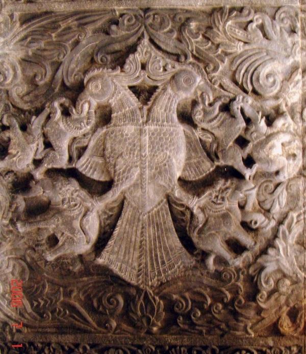 Carving of Gandaberunda bird (the_two_headed eagle) in the Rameshwara temple at Keladi