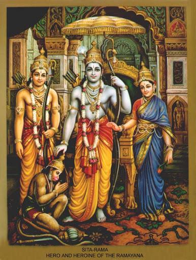 Rama, Sita, Lakshman, Hanuman
