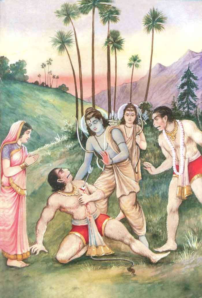Shri Rama consoling Vali