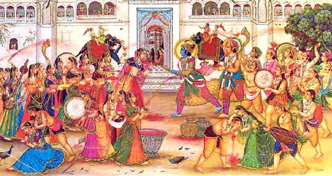 Shri Rama playing Holi