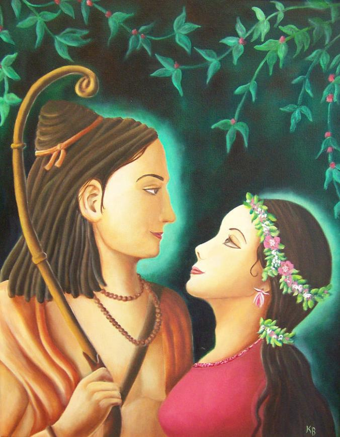 sita embraces Shri Rama art by Shri christine sherwood