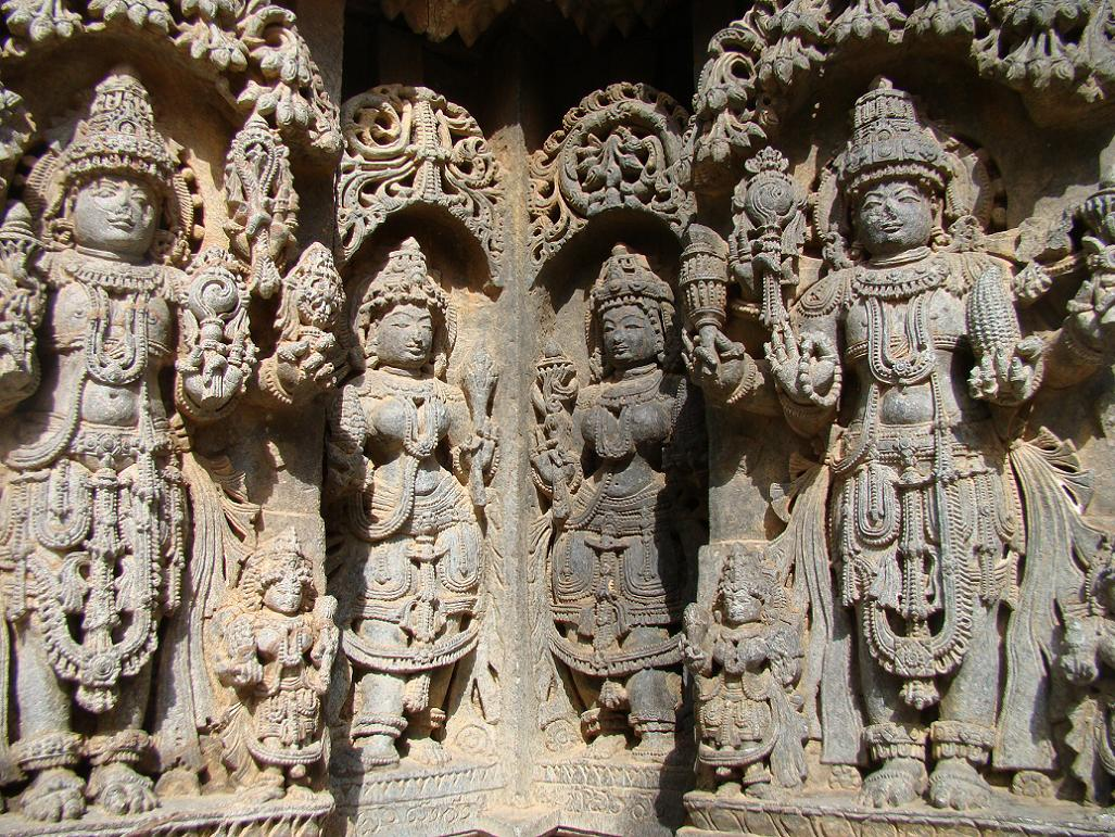 12th century carving of vishnu with corn
